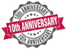 10th уплотнение годовщины штемпель Стоковая Фотография