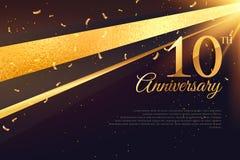 10th шаблон карточки торжества годовщины Стоковая Фотография