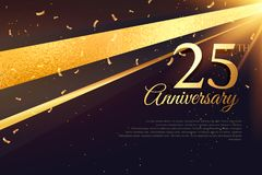 25th шаблон карточки торжества годовщины Стоковое Изображение RF