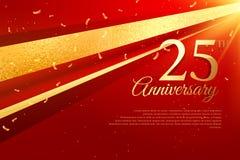 25th шаблон карточки торжества годовщины Стоковые Изображения