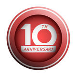 10th эмблема годовщины Стоковая Фотография