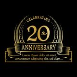 20th anniversary design template. 20 years logo. Twenty years vector and illustration. 20 years anniversary celebration design template. Twenty years logo. 20th royalty free illustration