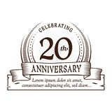 20th anniversary design template. 20 years logo. Twenty years vector and illustration. stock illustration