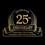 25th anniversary design template. 25 years logo. Twenty-five years vector and illustration. 25 years anniversary celebration design template. Twenty-five years stock illustration