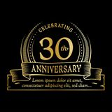 30th anniversary design template. 30 years logo. Thirty years vector and illustration. 30 years anniversary celebration design template. Thirty years logo. 30th stock illustration