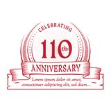 110th anniversary design template. 110 years logo. 110 years vector and illustration. 110 years anniversary celebration design template. 110years logo. 110th stock illustration