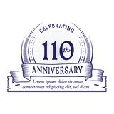 110th anniversary design template. 110 years logo. 110 years vector and illustration. 110 years anniversary celebration design template. 110years logo. 110th royalty free illustration