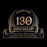 130th anniversary design template. 130 years logo. 130 years vector and illustration. 130 years anniversary celebration design template. 130years logo. 130th royalty free illustration