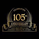 105th anniversary design template. 105 years logo. 105 years vector and illustration. 105 years anniversary celebration design template. 105years logo. 105th stock illustration
