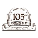 105th anniversary design template. 105 years logo. 105 years vector and illustration. 105 years anniversary celebration design template. 105years logo. 105th royalty free illustration