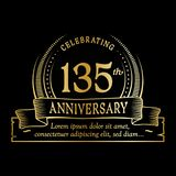 135th anniversary design template. 135 years logo. 135 years vector and illustration. 135 years anniversary celebration design template. 135years logo. 135th royalty free illustration