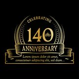 140th anniversary design template. 140 years logo. 140 years vector and illustration. 140 years anniversary celebration design template. 140years logo. 140th stock illustration