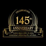 145th anniversary design template. 145 years logo. 145 years vector and illustration. 145 years anniversary celebration design template. 145years logo. 145th stock illustration