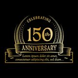 150th anniversary design template. 150 years logo. 150 years vector and illustration. 150 years anniversary celebration design template. 150years logo. 150th royalty free illustration