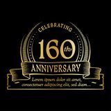 160th anniversary design template. 160 years logo. 160 years vector and illustration. 160 years anniversary celebration design template. 160years logo. 160th stock illustration