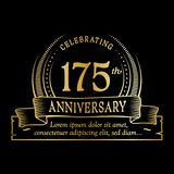 175th anniversary design template. 175 years logo. 175 years vector and illustration. 175 years anniversary celebration design template. 175years logo. 175th vector illustration