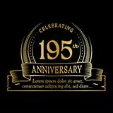 195th anniversary design template. 195 years logo. 195 years vector and illustration. 195 years anniversary celebration design template. 195years logo. 195th stock illustration