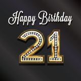21th anniversaire de joyeux anniversaire Carte de VIP Photo libre de droits
