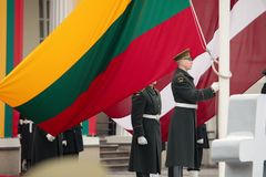100th anniversaire de la restauration du statehood lithuanien Photographie stock libre de droits