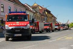140th anniversaire du corps de sapeurs-pompiers volontaire de Pezinok Images libres de droits