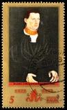 500th anniversario del pittore Lucas Cranach, Junger MANN, serie, circa 1972 immagini stock libere da diritti