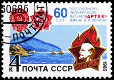 60th Anniversary of Artek Pioneer Camp, circa 1985. MOSCOW, RUSSIA - MAY 25, 2019: Postage stamp printed in Soviet Union (Russia) devoted to 60th Anniversary of royalty free stock photos