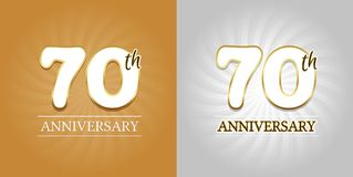 70th Anniversary Background - 70 years Celebration gold and Silver. Eps10 Vector Stock Images