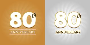 80th Anniversary Background - 80 years Celebration gold and Silver. Eps10 Vector stock illustration