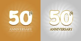 50th Anniversary Background - 50 years Celebration gold and Silver. Eps10 Vector Stock Photos