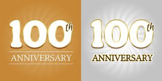 100th Anniversary Background - 100 years Celebration gold and Silver. Eps10 Vector Royalty Free Stock Image