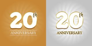 20th Anniversary Background - 20 years Celebration gold and Silver. Eps10 Vector royalty free illustration