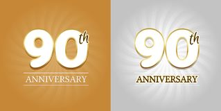 90th Anniversary Background - 90 years Celebration gold and Silver. Eps10 Vector Royalty Free Stock Photo