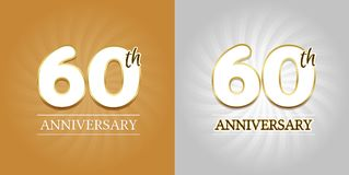 60th Anniversary Background - 60 years Celebration gold and Silver. Eps10 Vector Royalty Free Stock Photography