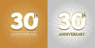 30th Anniversary Background - 30 years Celebration gold and Silver. Eps10 Vector Stock Image