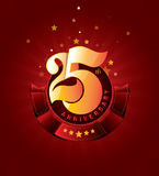 25th Anniversary Badge with Red Ribbon on Abstract Background. Celebrating 25th anniversary decorative golden invitation card - vector eps10 Royalty Free Stock Image