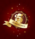 25th Anniversary Badge with Red Ribbon on Abstract Background. Celebrating 25th anniversary decorative golden invitation card - vector eps10 Stock Images