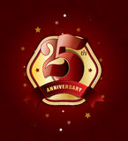 25th Anniversary Badge with Red Ribbon on Abstract Background. Celebrating 25th anniversary decorative golden invitation card - vector eps10 Royalty Free Stock Photography