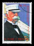150th Anniversary of the birth of Ferdinand von Zeppelin serie,. MOSCOW, RUSSIA - NOVEMBER 25, 2017: A stamp printed in Sao Tome and Principe shows von Zeppelin royalty free stock image