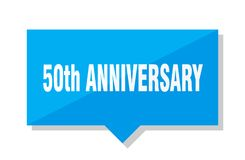 50th anniversary price tag. 50th anniversary blue square price tag royalty free illustration