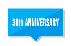 30th anniversary price tag. 30th anniversary blue square price tag Stock Photography