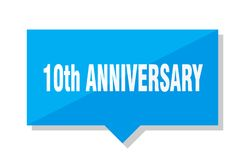 10th anniversary price tag. 10th anniversary blue square price tag Royalty Free Stock Images