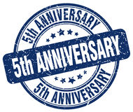 5th anniversary blue stamp Royalty Free Stock Photography