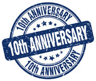 10th anniversary blue stamp. 10th anniversary blue grunge stamp Stock Images