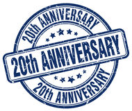 20th anniversary blue stamp. 20th anniversary blue grunge stamp Royalty Free Stock Photography