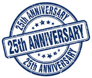 25th anniversary blue stamp. 25th anniversary blue grunge stamp Royalty Free Stock Photo