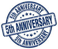 5th anniversary blue stamp Royalty Free Stock Photo