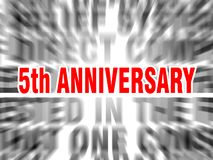 5th anniversary. Blurred text with focus on stock illustration