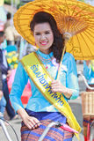 30th anniversary Bosang umbrella festival in Chiangmai province of Thailand. 30th anniversary Bosang umbrella festival with woman in traditional costume during Royalty Free Stock Photos