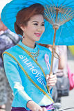 30th anniversary Bosang umbrella festival in Chiangmai province of Thailand. 30th anniversary Bosang umbrella festival with woman in traditional costume during Stock Images