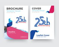 25th anniversary brochure flyer design template. With abstract photo background, minimalist trend business corporate roll up or annual report Royalty Free Stock Images